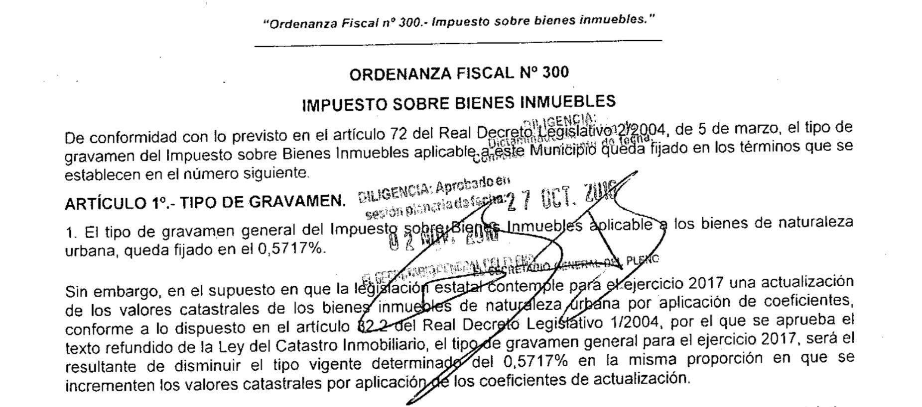 Ordenanza Fiscal 2017 IBI Córdoba